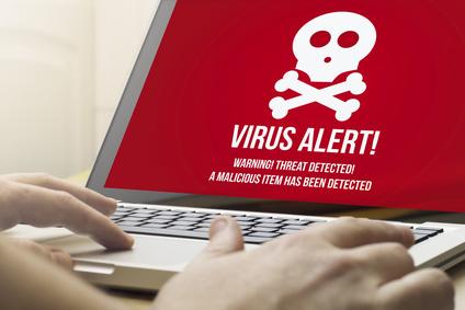 Anti Virus message on laptop screen