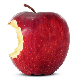 Chunk missing from a red apple